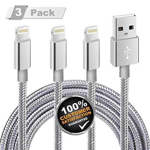 iPhone Ladekabel, MiTE Lightning Kabel [Nylon geflochten] 2m*3 für iPhone X/ 8/ 7/ 6 Plus/ 6S/ 5S/ iPad Mini, iPad Air 2/ Pro und mehr (Grau)