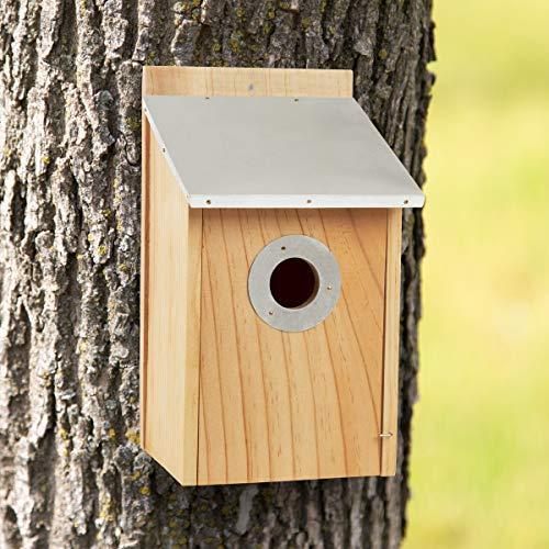 Pure² Garden 50-LG1105 Vogelhaus Kiefer mit Blechdach Outdoor wetterbeständiger klassischer Nistkasten aus Holz lockt Blauebird,Finken, Wichteln und mehr