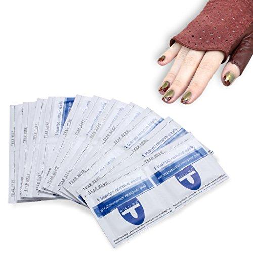 Nagellack-Entferner-Verpackungen, schnell & schonend weg tränken Acryl-UV-Gel-Nagellack, Folien-Auflagen mit W / Aceton, Packung mit 200 Stück -