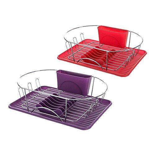 Escurreplatos 2/c hierro cromado 44 x 32 x 13 cm morado y rojo. (Rojo)