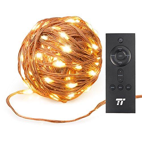 TaoTronics 200 LEDs 20m Lichterkette Lichterketten mit RF Fernbedienung(20m/66Fuß Reichweite), Kupferdraht superweich, 8 Modi Warmweiß Sterne Lichter für drinnen und draußen