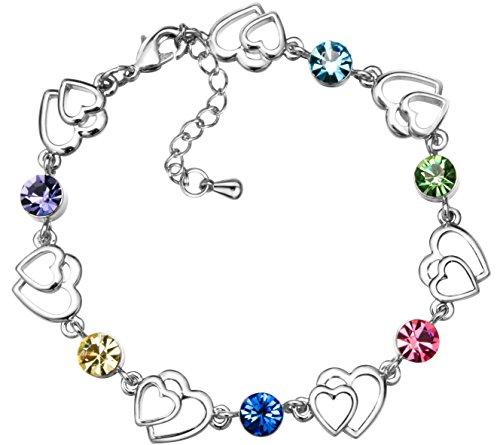 FLORAY Armband für Mädchen, Mehrfarbige Kristalle Charm, vergoldet, schönes Geschenk.