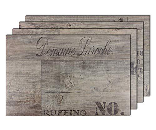 4er Premium Tischsets Holzoptik Weinkiste Grau-Braun (rechteckig, abwaschbar, PVC, ca.43,5x28,5cm, ca.2,4mm, ca.180g)