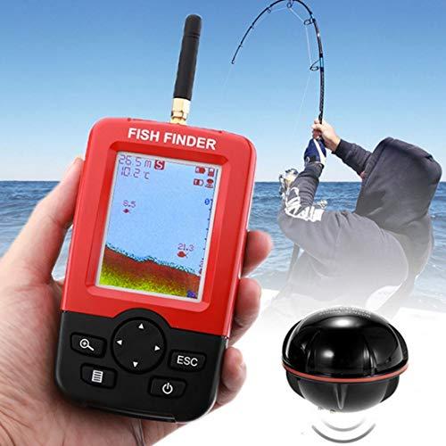 YIBANG-Angelgn Wireless Fish Detector 125KHz Sonar-Sensor 0,6-36m Echolot Fischfinder mit 2,4-Zoll-LCD-Bildschirmantenne, eingebauter Wassertemperatursensor,Angeln im Freien