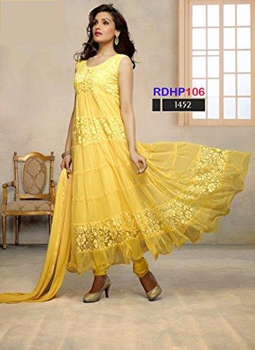 Lavi's Women's Yellow Brasso Net Anarkali