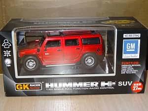 H2 ? GM modèle de licence officiel de RC Hummer voiture d'authentification régulière ? Rouge [GK RACER série HUMMER H2 01:24 27MHz]