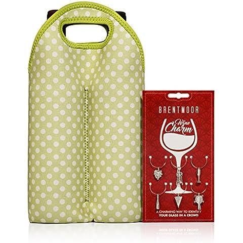 Brentmoor - 2 Botellas - Bolsa De Neopreno Para Botella De Vino / Agua - Completa Con Dijes Para
