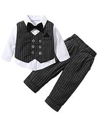 152a9ca296e17 SXSHUN Ensembles Pantalons et Haut Bébés Garçons Gentleman Costumes de  Mariage Baptême Treillis Tenues Vêtement Costume