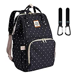 Wickeltasche Rucksack - Multi-Funktions-Wasserdichte Mutterschaft Wickeltaschen für Reisen mit Baby - Große Kapazität, Langlebig und Stilvoll(Schwarz)