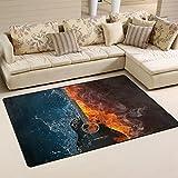 coosun E-Gitarre Feuer und Wasser Hintergrund Bereich Teppich Teppich rutschfeste Fußmatte Fußmatten für Wohnzimmer Schlafzimmer 78,7x 50,8cm, Textil, multi, 31 x 20 inch