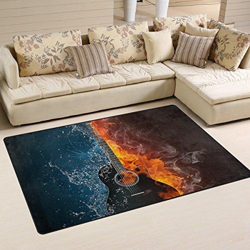 coosun E-Gitarre Feuer und Wasser Hintergrund Bereich Teppich Teppich rutschfeste Fußmatte Fußmatten für Wohnzimmer Schlafzimmer 152,4x 99,1cm, Textil, multi, 60 x 39 inch - E-gitarre Feuer