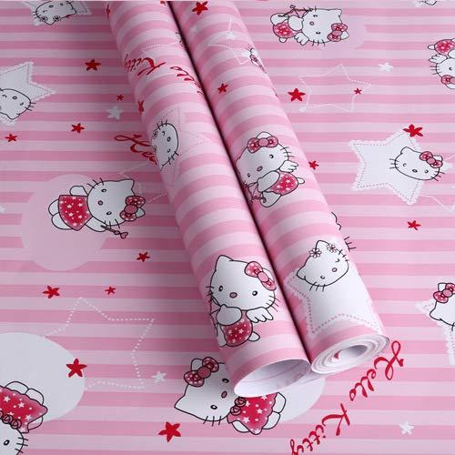Umweltfreundliche PVC-Cartoon-Tapete selbstklebende dicke wasserdichte Schlafsaal Tapete Kinderzimmer Wandaufkleber süß renoviert Aufkleber Sterne Katze (0,6 * 5 m) 0,53 * 9,5 m