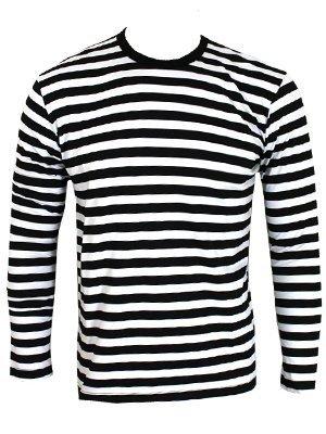 Männer Langarm T-Shirt schwarz/weiß gestreift (Gestreiftes T-shirt)