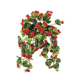 Guirnalda de Begonia flores artificiales para colgar cesta Plant Vine para casa fiesta boda jardín Decor DIY trabajo (rojo)