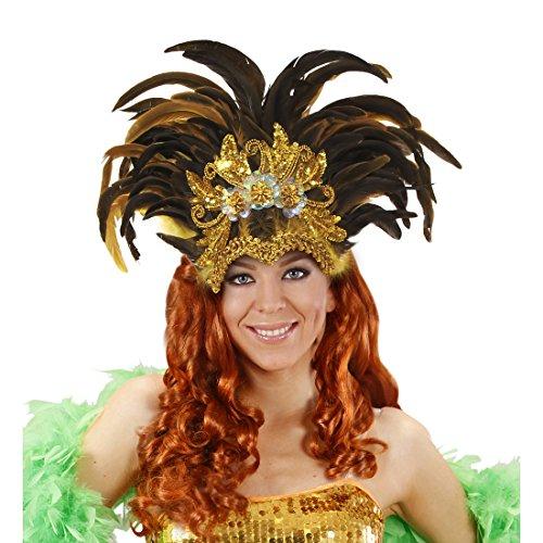 Amakando Federkopfschmuck Rio Samba-Kopfschmuck Gold, gelb, braun brasilienisches Kostüm Accesoire Sambatänzerin Zubehör Showgirl Outfit Karneval in Rio (Rio Showgirl Kostüm)
