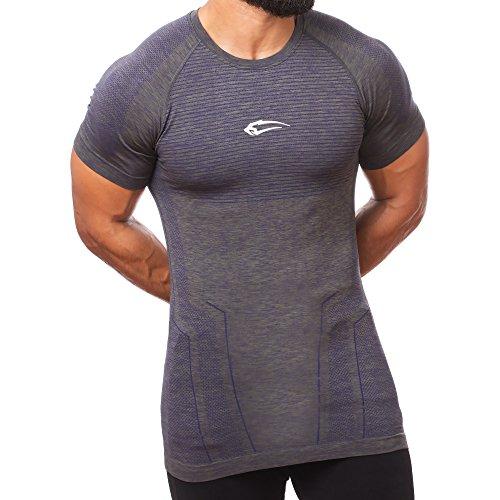SMILODOX Slim Fit T-Shirt Herren 'Fortress' | Seamless - Kurzarm Funktionsshirt für Sport Fitness Gym & Training | Trainingsshirt - Laufshirt - Sportshirt mit Aufdruck Olive