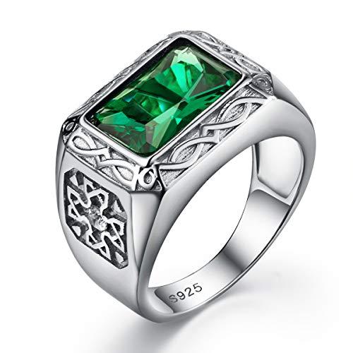 Valily Herren Solitaire Emerald Ring 925 Sterling Silber Verlobung/Hochzeit Weinlese grüner Stein Ringgröße 69 - Hochzeit Silber Männer Ring