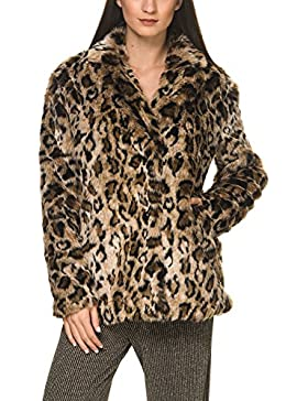 Only Women's Amy Women's Coat In Animal Print 100% Polyester