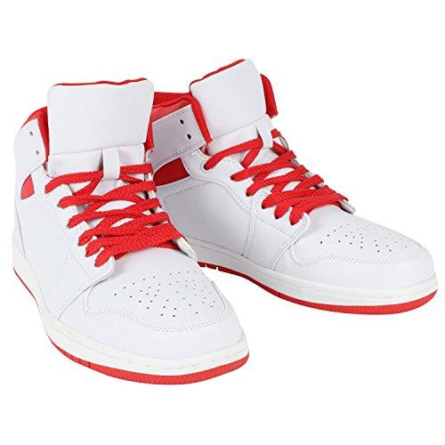 Herren Basketball Sportschuhe | Sportive Freizeit Sneakers | Activewear | Pflegeleichtes Obermaterial aus Kunstleder | Gr. 40-45 Weiss Rot