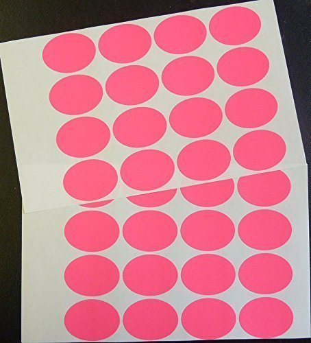 """Rosa Brillante Papel Adhesivos, 40x30mm/1½x1¼"""" Ovalado, 32 Etiquetas, auta-adhesivo Etiquetas Adheribles, Economía Pack"""