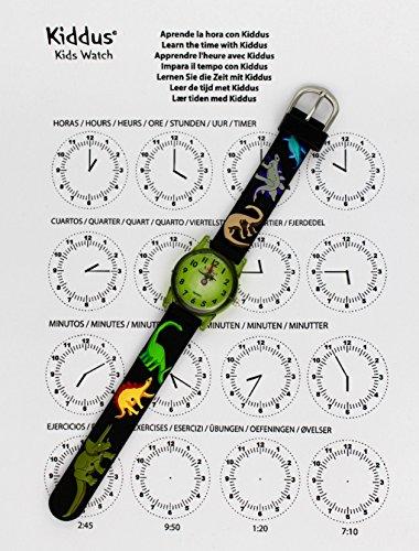 Kiddus Kinder Jungen Uhr Analog Japanischer Quarz Gummi Armband Wasserdicht RE0259 Dinosaurier - 3