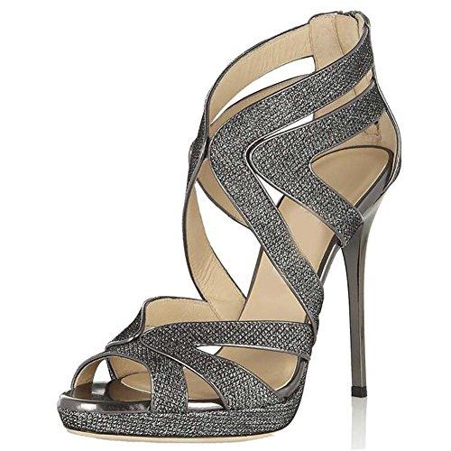 SYYAN Damen In Europa-Amerika Feine Glitter Fisch Hand Gemacht Pumpe Kleid Sandale Nachtclub Gray