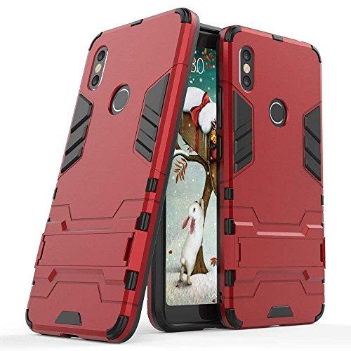 Funda para Xiaomi Redmi S2 (5,99 Pulgadas) 2 en 1 Híbrida Rugged Armor Case Choque Absorción Protección Dual Layer Bumper Carcasa con pata de Cabra (Rojo)