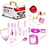 Likecom 25 Stück Doktor Spielset Medizinische Kits Rollenspiel Spielzeug für Kinder- Rosa