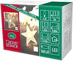 Konstsmide 1405-103 Guirlande Déco Étoiles Claires + 10 LED Blanc Chaud + Câble Transparent 1,5 V