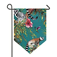FANTAZIO Animal Lemur And Floral Garden Flags Premium Quality Yard Holiday and Seasonal Decorative Flags Outdoor Decorative Flags - Double Sided