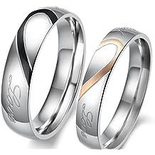 lekima 2pieza inoxidable Ring mitad Corazón Real Love Promesa amante pareja compromiso boda banda amor regalo joyas para hombres mujeres–negro oro rosa (con bolsa de regalo)