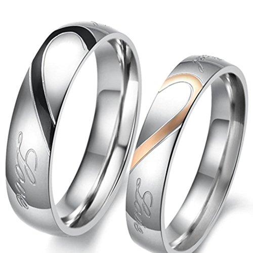 joielavie joyería 2pieza Ring mitad Corazón Real Love Promise acero inoxidable lover pareja compromiso boda banda amor regalo para hombres mujeres–negro oro rosa (con bolsa de regalo)