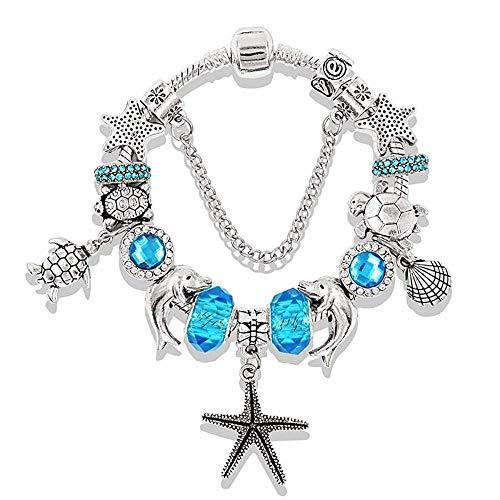 Jinmi bracciale in perline da uomo serie ocean blue con cinturino in argento con diamanti (colore : blu, dimensioni : 19cm)