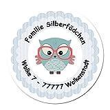 24 individuelle Aufkleber für Kinder - Motiv blaue Eule - personalisierte Sticker - Adresse Schule Einschulung