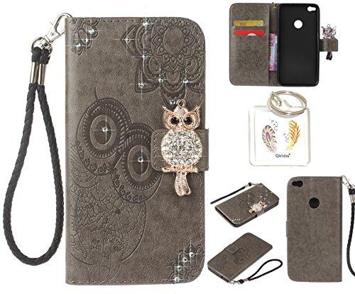Preisvergleich Produktbild für Huawei P8 Lite 2017 PU Diamant Strass Niedlich Eule Leder Silikon Schutzhülle Handy case Book Style Portemonnaie Design für Huawei P8 Lite 2017 + Schlüsselanhänger ( CDE3 (4)