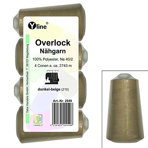 4 Stück Spulen Overlock - Nähgarn, dunkel - beige, a. 2743 m, NE 40/2, 100% Polyester, Nähfaden, Nähmaschinen Garn, 2949