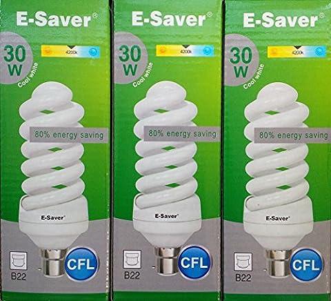 Kompaktleuchtstofflampen/Energiesparlampen, 3, 6Stück, CFL Full Spiral 30W = 150Watt, Kompaktleuchtstofflampen, cool white 30.00 wattsW 240.00 voltsV