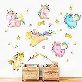 decalmile Colorato Unicorno Adesivi da Parete Cameretta Bimba Adesivi Murali Camerette Bambini Decorazione
