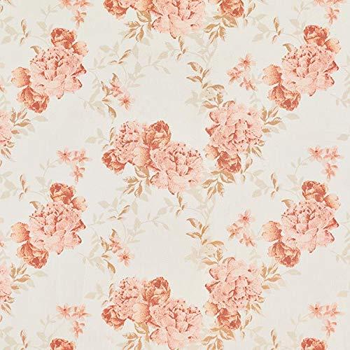 Fabulous Fabrics Baumwollsatin Stretch Blumen - wollweiss - Meterware ab 0,5m - zum Nähen von Hosen, Jacken und Röcke