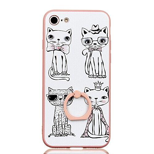 Voguecase Pour Apple iPhone 7 4,7, Bague Support à 360 degrés TPU avec Absorption de Choc, Etui Silicone Souple Transparent, Légère / Ajustement Parfait Coque Shell Housse Cover pour Apple iPhone 7 4, Pink-chat blanc 05
