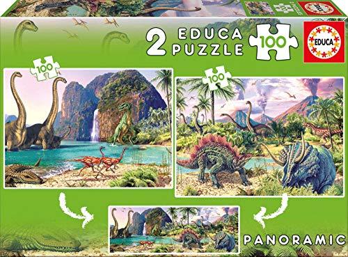 Educa Borrás Tren Puzzle 2X100 Dino World, Color (15620)