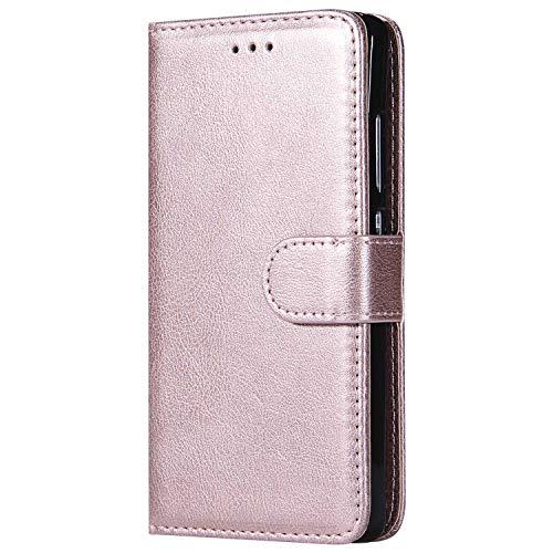 DENDICO Funda Huawei P8 Lite 2015 2016, Ultra-Fina Flip Libro Carcasa de Cuero, Piel Protección Cover para Huawei P8 Lite 2015/2016 - Rosa