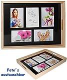 alles-meine.de GmbH großes Tablett -  für - 5 große Fotos & Bilder  - rechteckig - Vintage - Foto Serviertablett aus Holz - braun / Naturholz / auch zur Deko geeignet - Retro D..