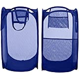 SAHAYA Set of 2 Polyester Big size Mesh/Net Laundry Basket, Bag Multipurpose Fold able & Collapsible Pop-Up (38 X 38 X 70 Cm) for storage of Clothes, Toys (Random Color)