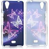 tinxi® Design Silikon Schutzhülle für Wiko Rainbow UP Hülle Rückschale Schutz Hülle Silicon Case Schmetterling in lila