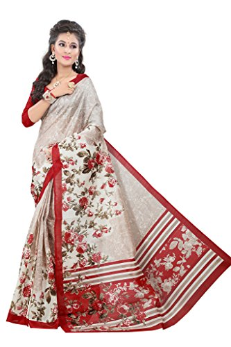 Glory Sarees Cotton Saree (Vnart21_Beige And Red)