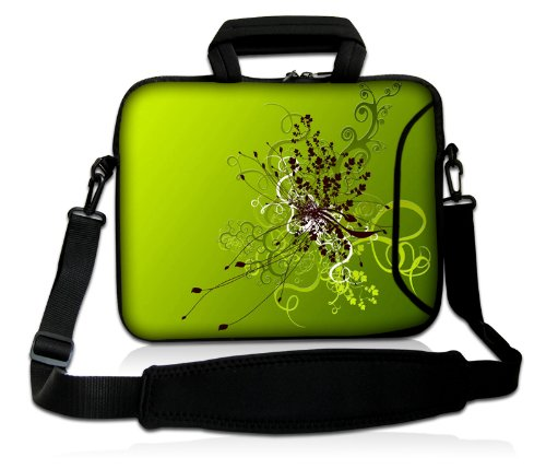Luxburg® Design Laptoptasche Notebooktasche Sleeve mit Schultergurt und Fach für 15,6 Zoll, Motiv: Blumenornament auf Grün