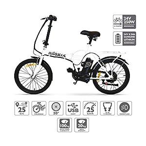 51N67QC4opL. SS300 Nilox Doc X1, Bicicletta Elettrica, E-bike, Bicicletta Pieghevole con Pedalata Assistita, Ruota 20'', Motore 250 W…