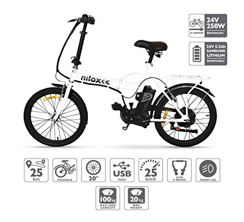 Nilox X1, E-bike, Electric Bike, Citybike, Commuter Bike, Foldable Bike, Folding Electric Bike, 25 km/h Speed, White