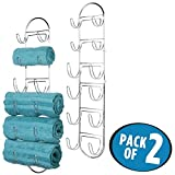 mDesign Handtuchhalter zur Wandmontage – Handtuchablage aus verchromtem Metall – schickes Badzubehör – auch für das Gäste-WC geeignet – silber - 2er Set